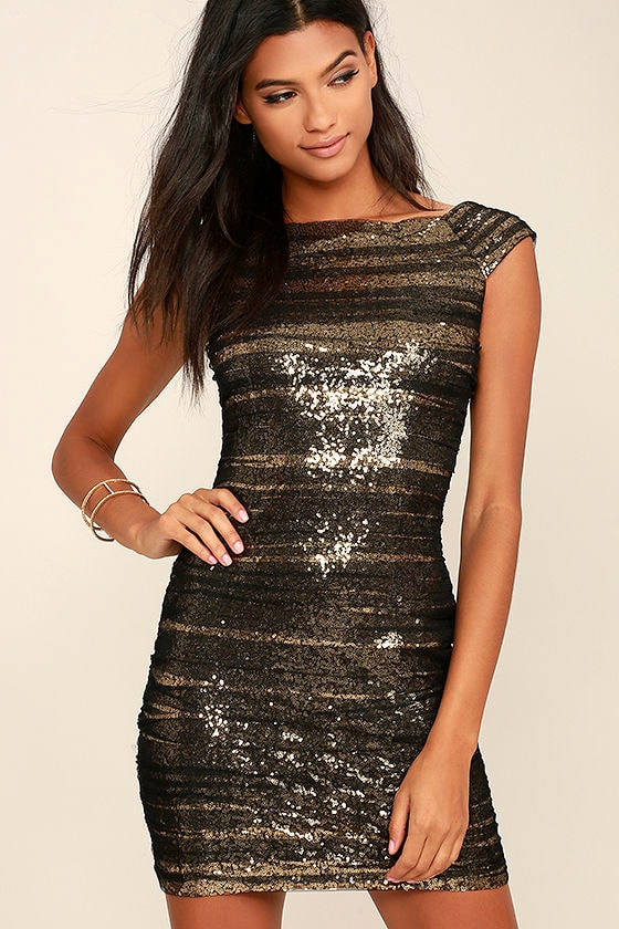 Stunning Gold Sequin Dress - Black and Gold Dress - Gold Party ...