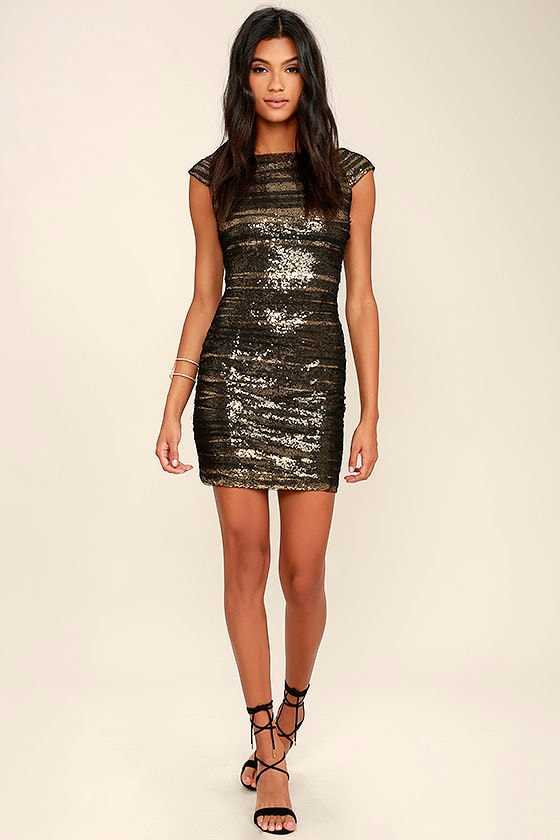 Feeling Alive Gold and Black Sequin Dress 2
