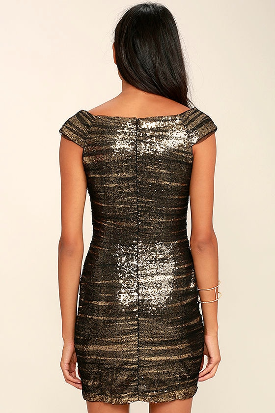 Feeling Alive Gold and Black Sequin Dress 4