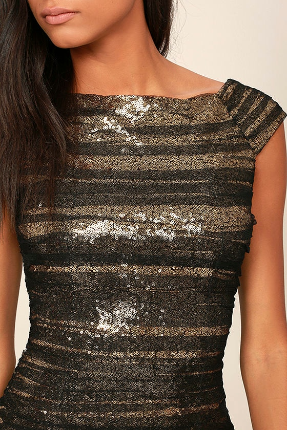 Feeling Alive Gold and Black Sequin Dress 5