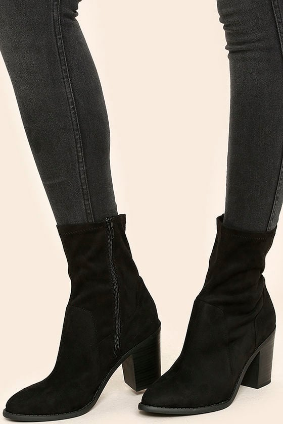 06a37628c229 Chic Black Suede Boots - Mid-Calf Boots - Sock Boots - Black Boots -  28.00