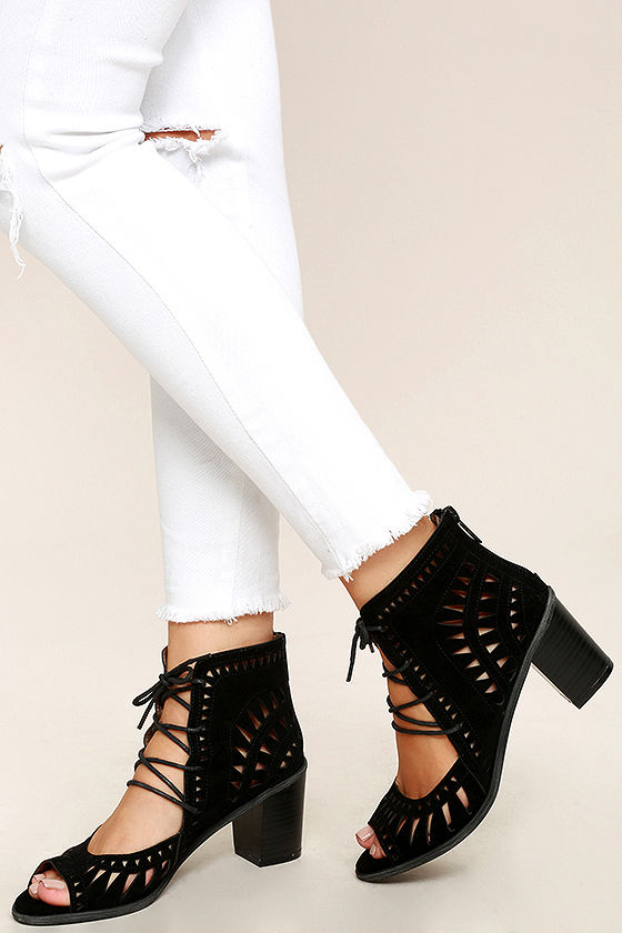 Cut to the Chase Black Suede Cutout Lace-Up Booties 2