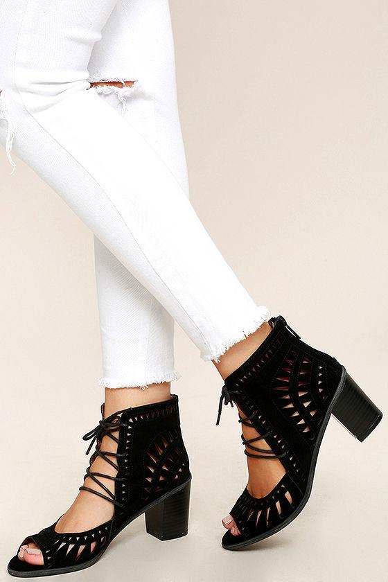 bf6c3b56b06 Cute Black Lace-Up Booties - Laser Cut Booties - Peep-Toe Booties ...
