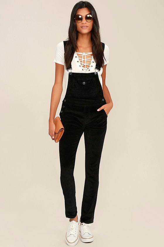 3125a53972d Corduroy Overalls - Black Overalls - High-Waisted Overalls -  58.00
