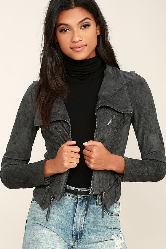 Ready For Anything Charcoal Grey Suede Moto Jacket 1