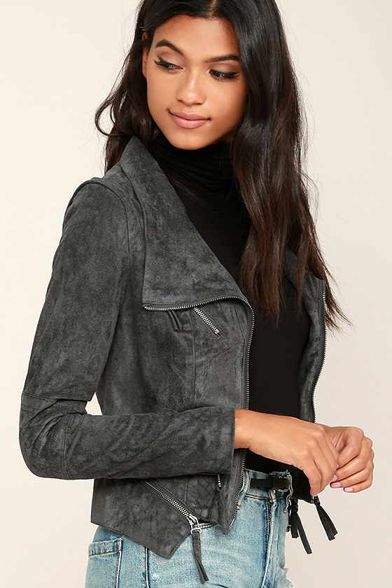 Ready For Anything Charcoal Grey Suede Moto Jacket 3