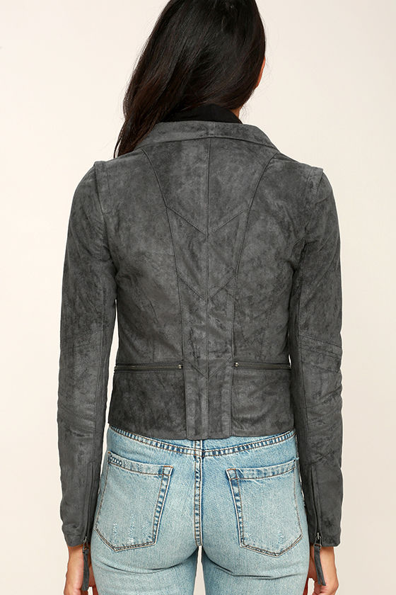 Ready For Anything Charcoal Grey Suede Moto Jacket 4