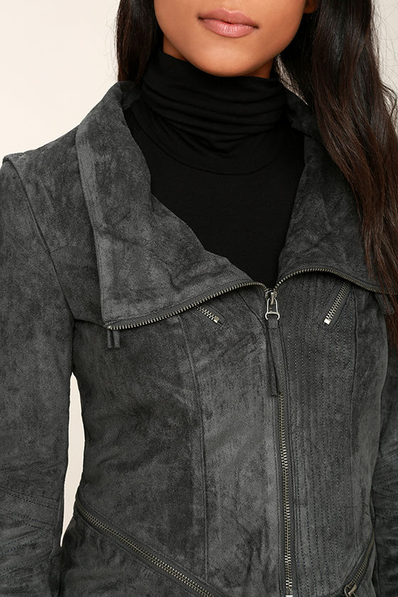 Ready For Anything Charcoal Grey Suede Moto Jacket 5