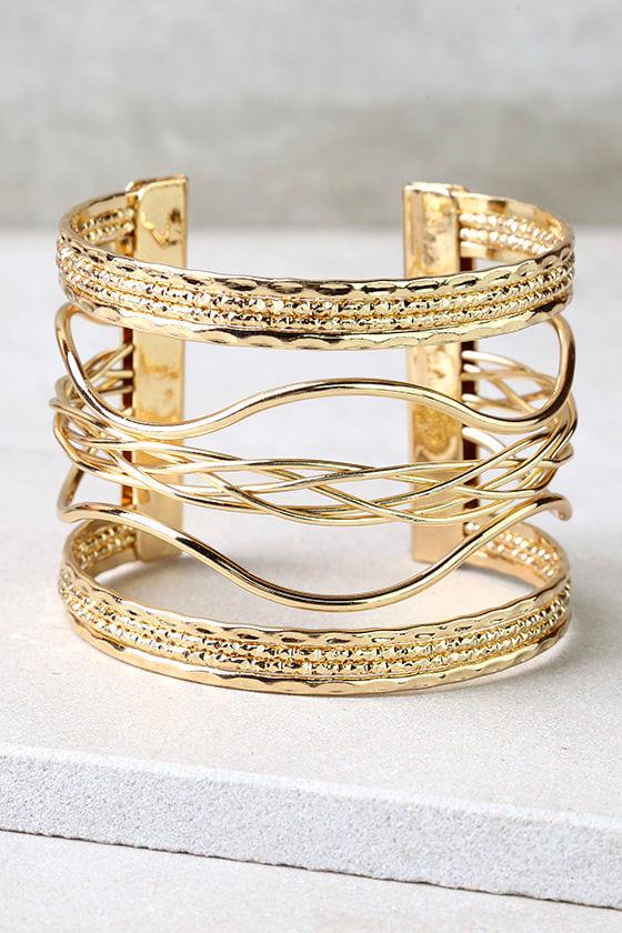 Swirl Power Gold Cuff Bracelet 1