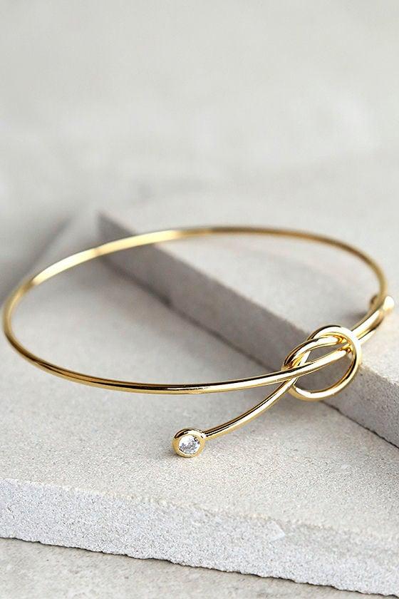 Knot So Fast Gold Rhinestone Bracelet 1