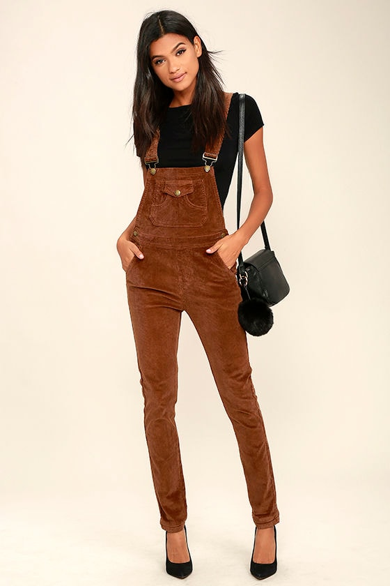 268ee89929d Corduroy Overalls - Brown Overalls - High-Waisted Overalls -  58.00