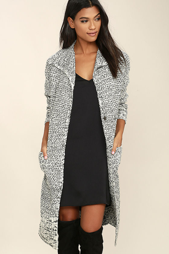 c8aeb9d73 Mink Pink White Noise Black and White Cardigan - Long Cardigan Sweater -  $119.00