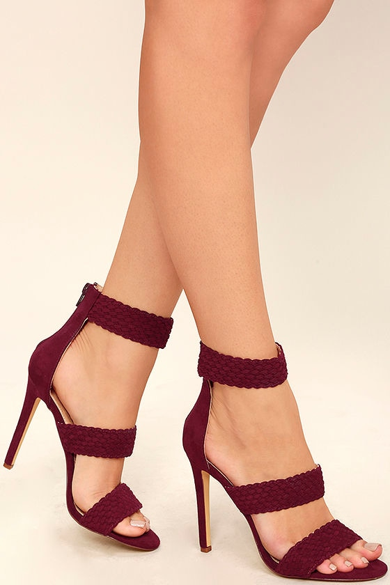 14600c626af Weave it to Me Wine Red Suede Ankle Strap Heels