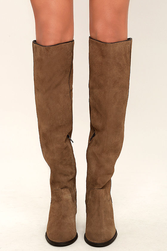 0e966f3b9c19 Mia Nigel Boots - Taupe Suede Leather Boots - Knee High Boots -  159.00