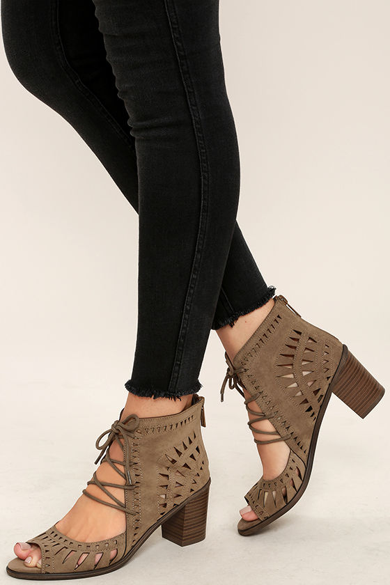 Cut to the Chase Beige Suede Cutout Lace-Up Booties 1