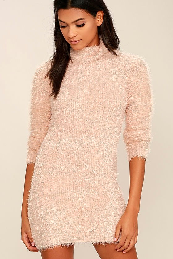 MINKPINK Soft Serve - Blush Pink Dress - Sweater Dress - Bodycon ...