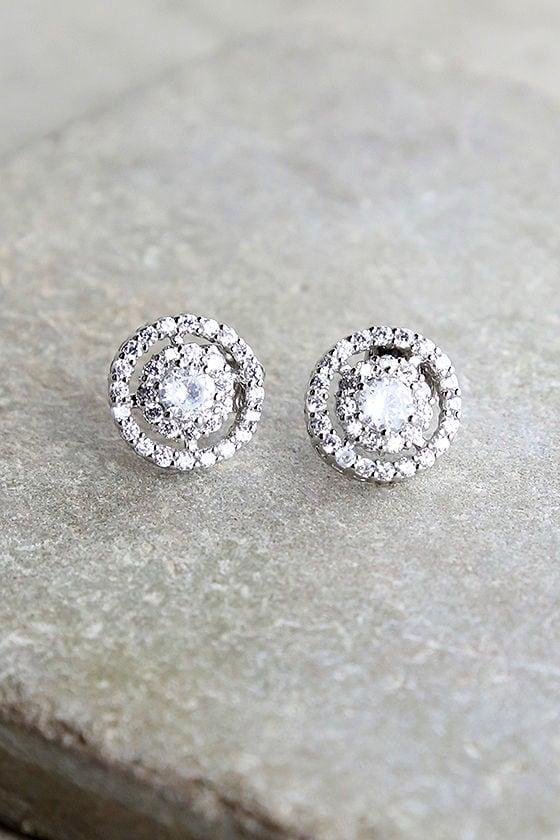 Sure to Stun Silver Rhinestone Earrings 1