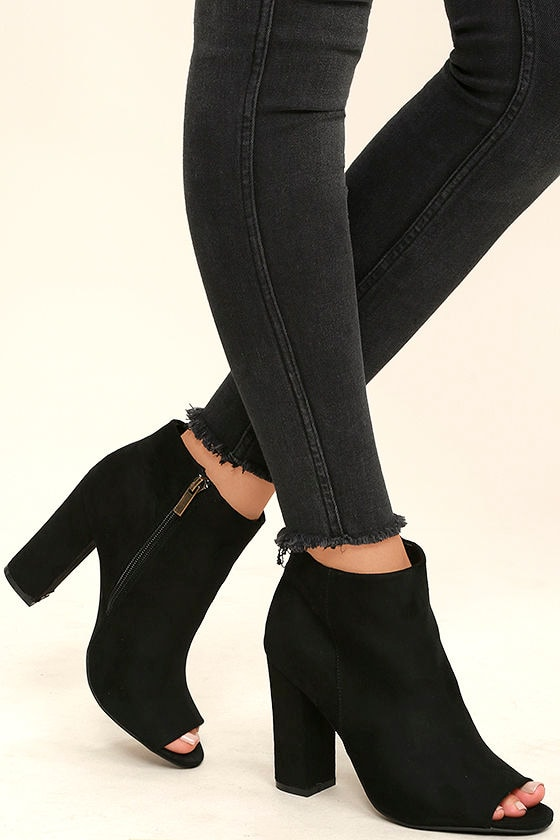 Cute Black Suede Booties Black Ankle Booties Peep Toe