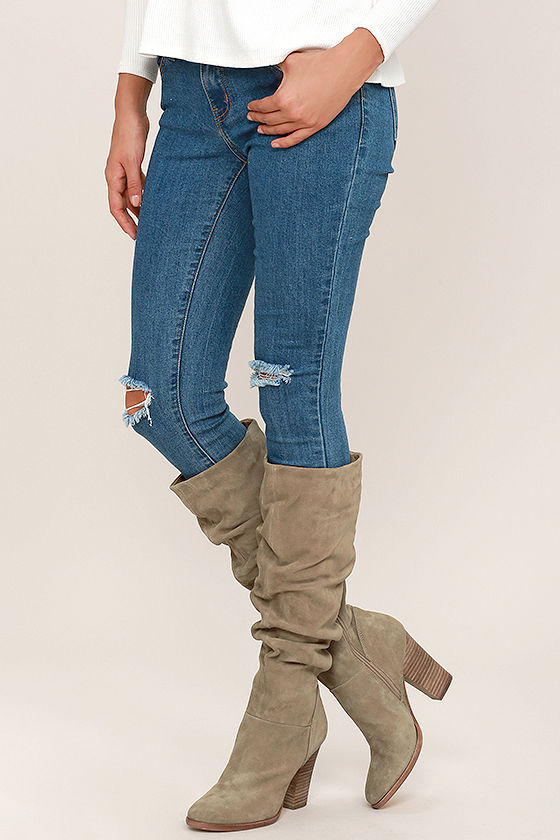 Steve Madden Nevadaaa Sand Suede Leather Boots