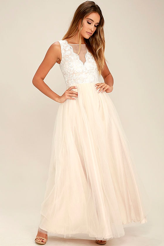 Light Beige Gown - Tulle Dress - Maxi Dress - Embroidered Dress -  98.00 a38eacdd2