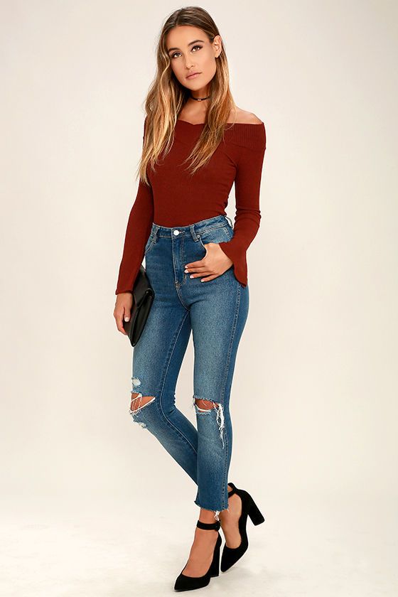 90648783a2b676 Chic Burgundy Top - Off-The-Shoulder Top - Bell Sleeve Top -  32.00