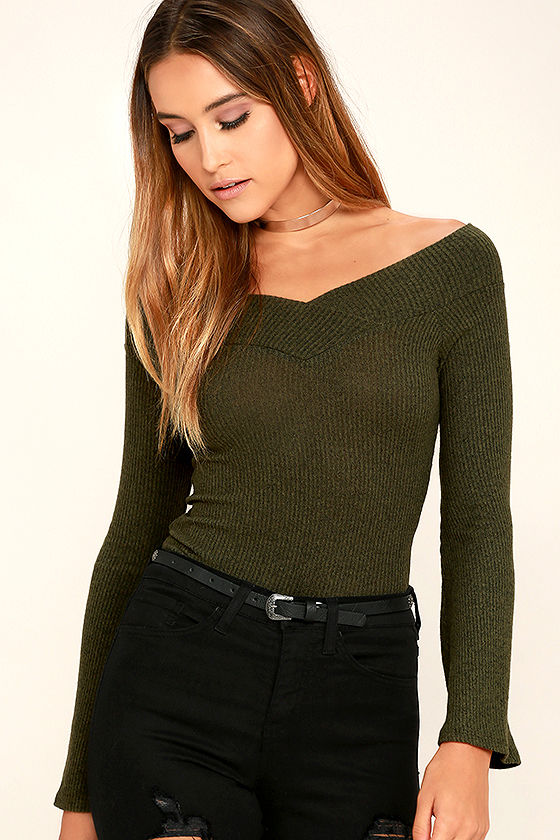 Lucky Star Olive Green Off-the-Shoulder Top 1