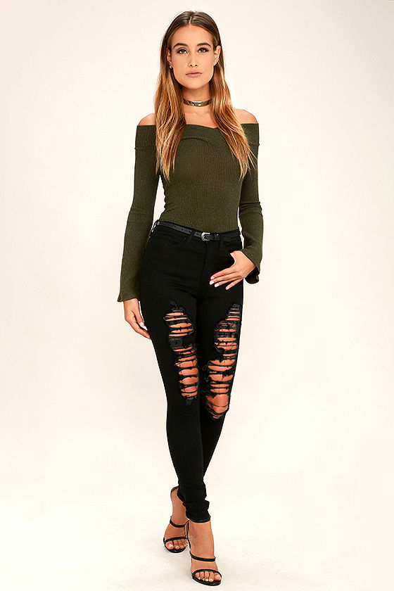 Lucky Star Olive Green Off-the-Shoulder Top 2