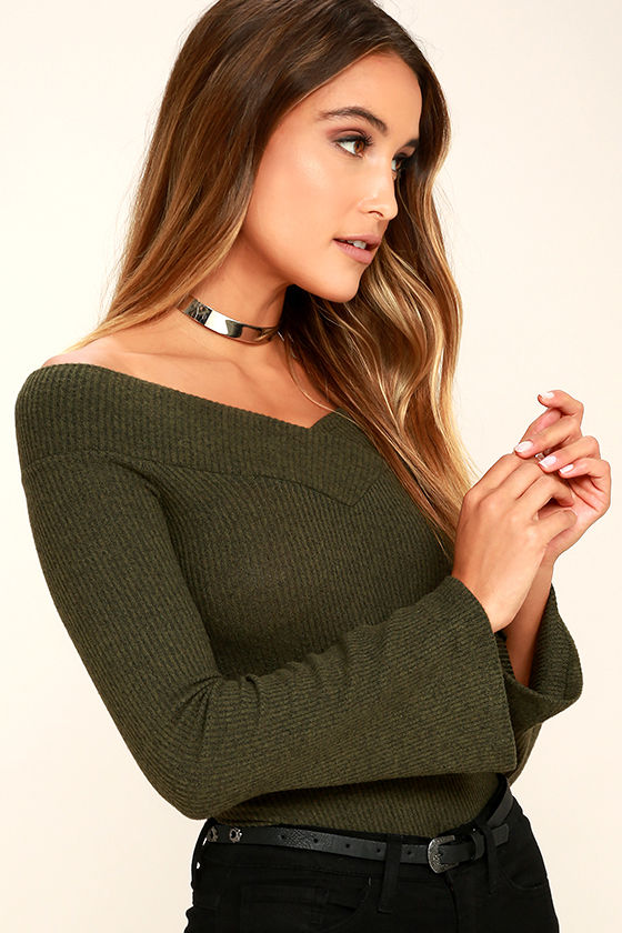 Lucky Star Olive Green Off-the-Shoulder Top 3