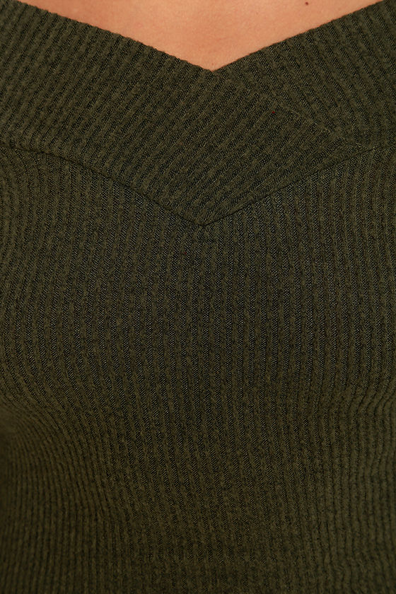 Lucky Star Olive Green Off-the-Shoulder Top 6