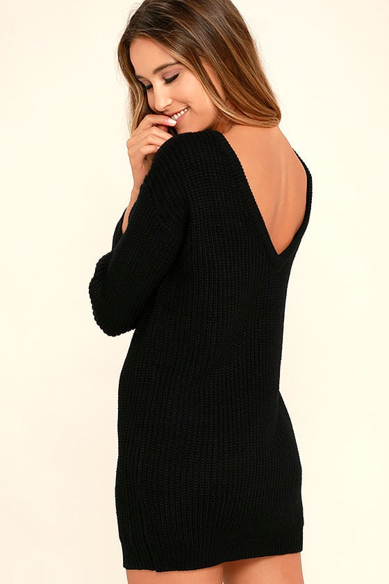 Bringing Sexy Back Black Backless Sweater Dress 1
