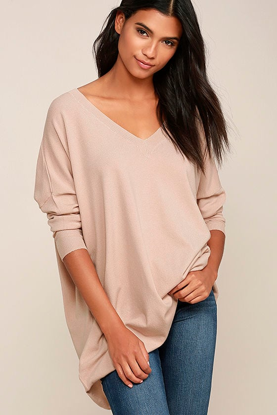 Ticket to Cozy Blush Pink Oversized Sweater - Lulus