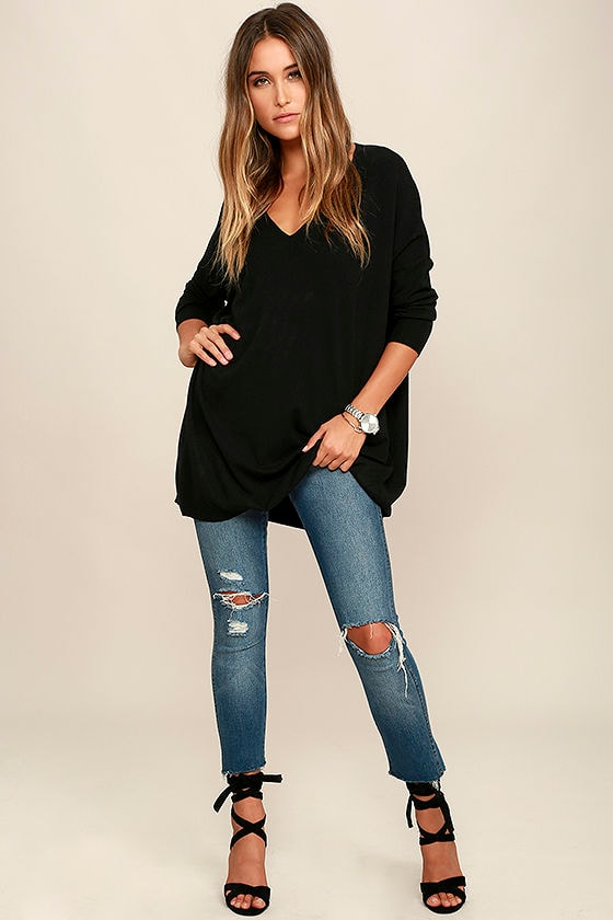 14d80bb5ad6 Black Sweater - V-Neck Sweater - Oversized Sweater - $42.00