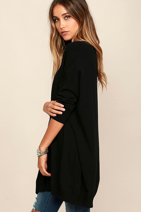 Ticket to Cozy Black Oversized Sweater 3