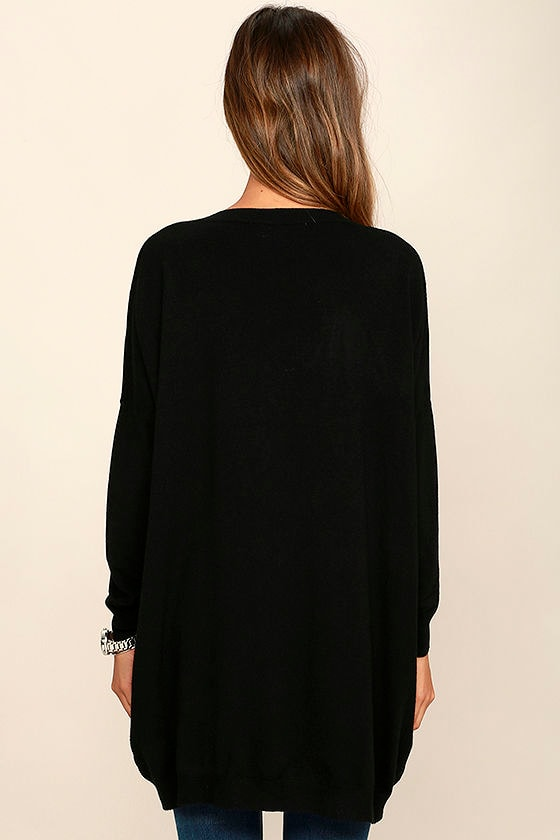 Ticket to Cozy Black Oversized Sweater 4
