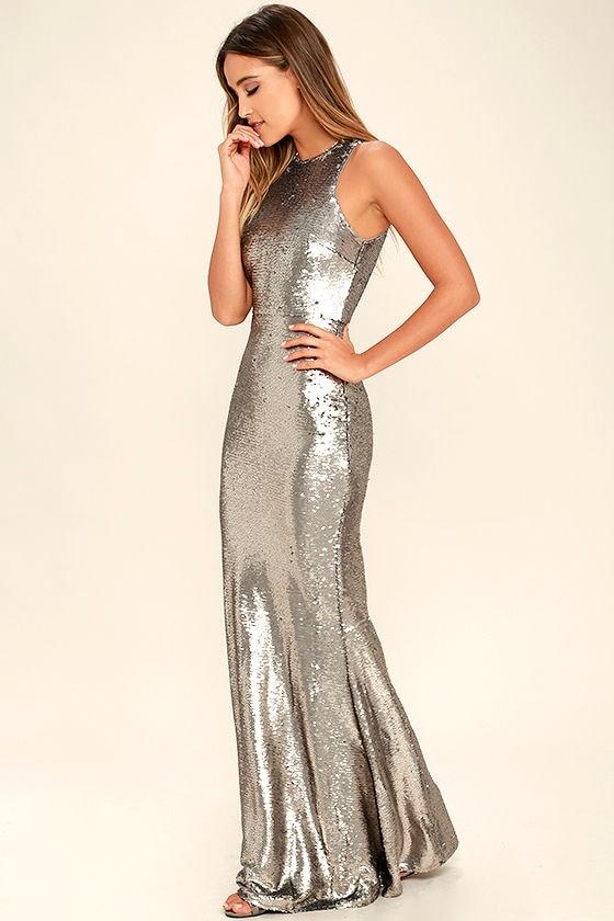 f7f8a50606 Lovely Silver Dress - Maxi Dress - Sequin Dress - $96.00