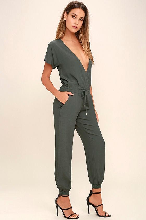 3f756b95d Chic Charcoal Grey Jumpsuit - Short Sleeve Jumpsuit - Surplice Jumpsuit -   64.00