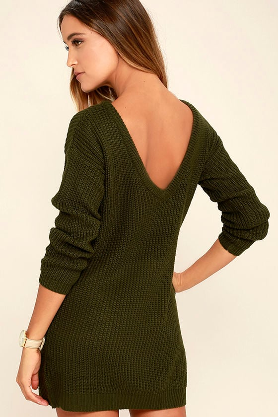 Bringing Sexy Back Olive Green Backless Sweater Dress 1