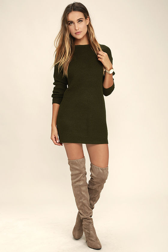 Bringing Sexy Back Olive Green Backless Sweater Dress 2