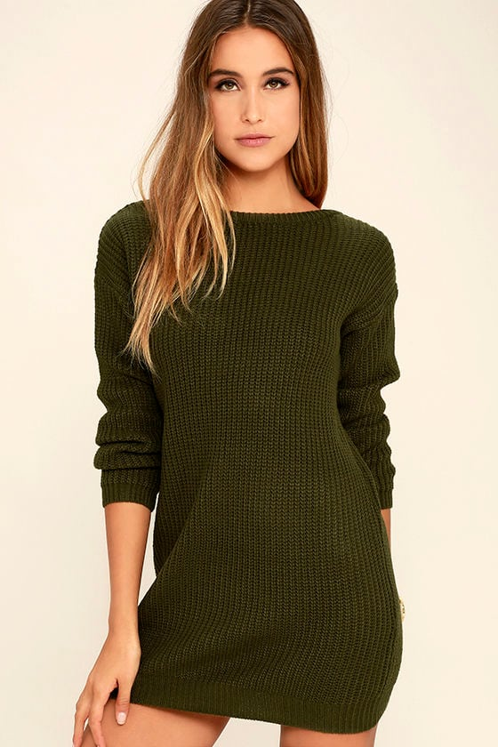 Bringing Sexy Back Olive Green Backless Sweater Dress 3