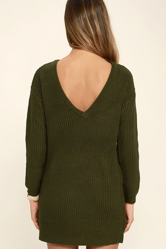 Bringing Sexy Back Olive Green Backless Sweater Dress 4