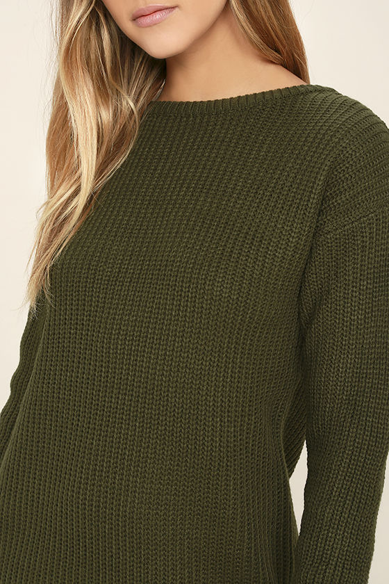 Bringing Sexy Back Olive Green Backless Sweater Dress 5