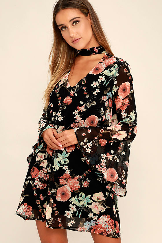 Placed print floral dress