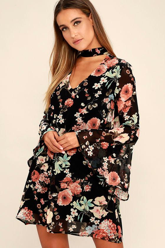Lovely Black Floral Print Dress - Bell Sleeve Dress - Shift Dress -  56.00 30962b680