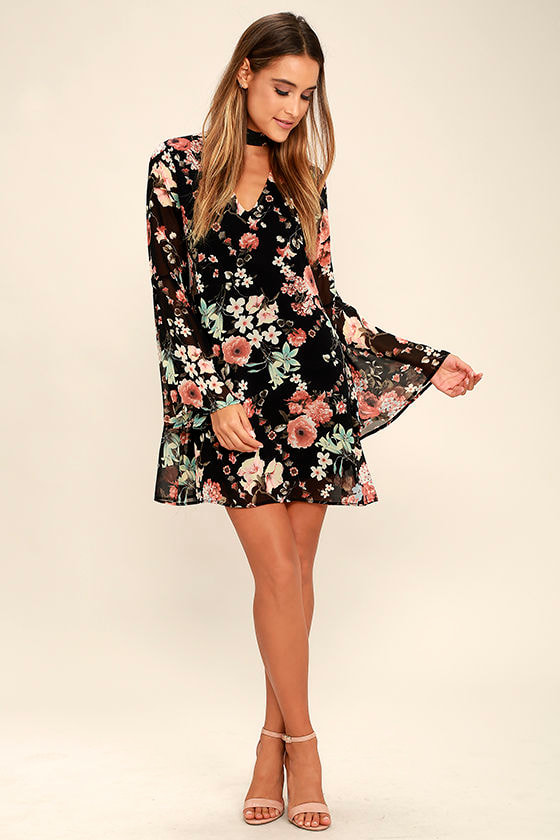 black floral dress with boots