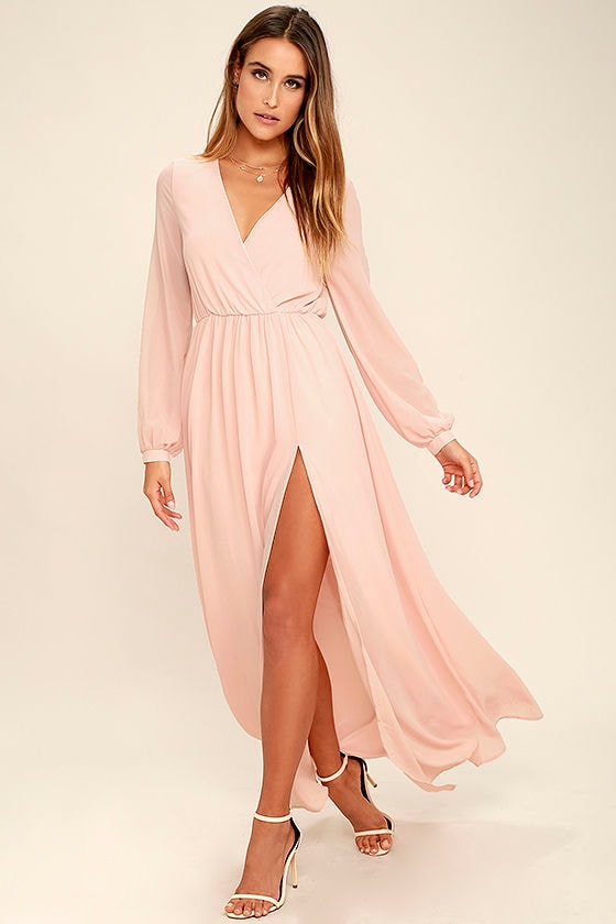 Wondrous Water Lilies Blush Pink Maxi Dress 2