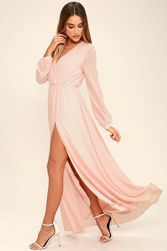 Lovely Blush Pink Dress - Maxi Dress - Long Sleeve Dress - $78.00