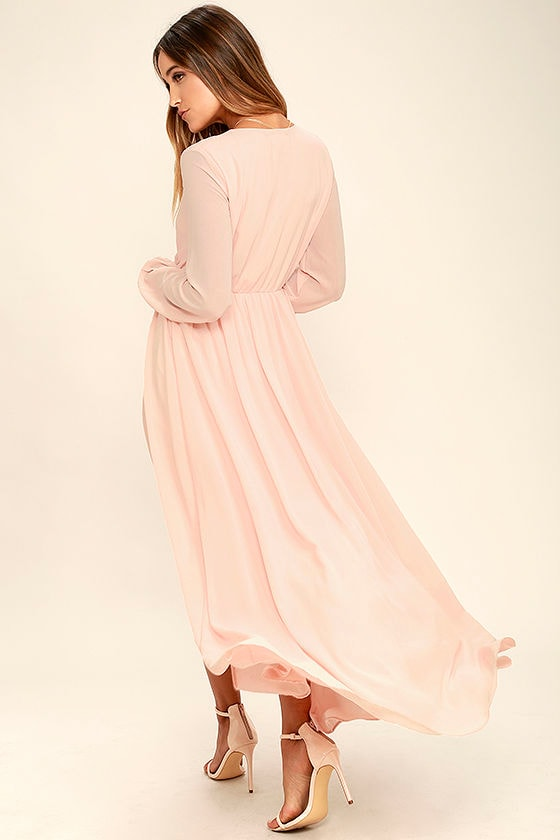 Wondrous Water Lilies Blush Pink Maxi Dress 3