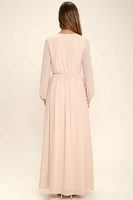 Wondrous Water Lilies Blush Pink Maxi Dress 4
