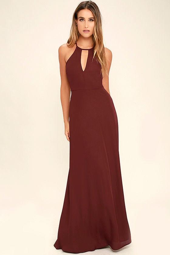 Beauty and Grace Burgundy Maxi Dress