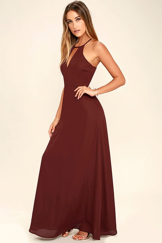Beauty and Grace Burgundy Maxi Dress 2